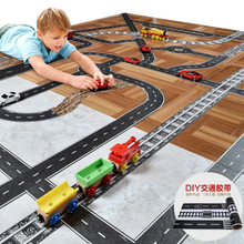 p087 DIY road rail belt sticker road toys children's puzzle design track scene can be used with car car train curve pathway
