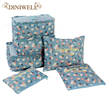 DINIWELL 6 PCS Travel Suitcase Closet Divider Container Storage Bag Set For Clothes Tidy Organizer Packing Cubes Laundry Bag