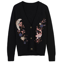 new winter carp black cherry blossom crane all-match knit cardigan casual jacket(China)