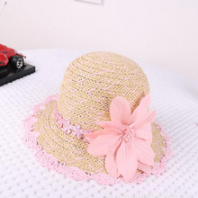 2017 New Spring And Summer Girl Big Along Straw Hat Flowers Beach Hat Fashion Girl Sun Hat Sunscreen Child Sun Hat