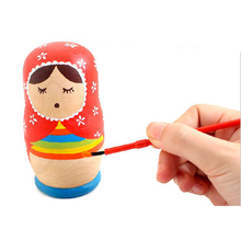 5Pcs/Set Home Crafts Matryoshka Toy Kids Handmade Educational Toys Unpainted Dolls Diy Russian Dolls Baby Blank Wooden Toys