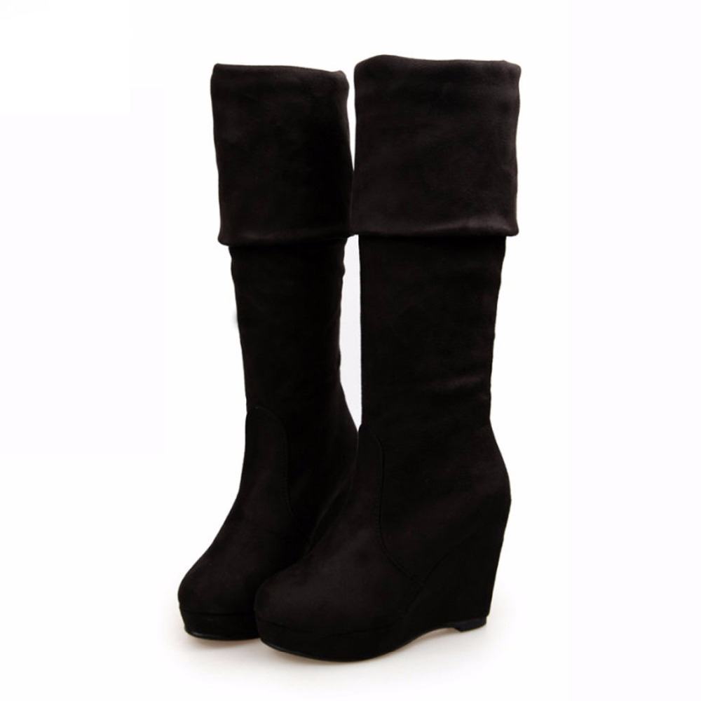 Women Boots 2017 Autumn Winter Ladies Fashion Platform High Heel Boots Shoes Over The Knee Thigh High Suede Long Boots Brand<br><br>Aliexpress