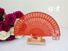 New Chinese sandalwood fans Promotional hand fans Fancy wedding favors 8 inches 7 colors available