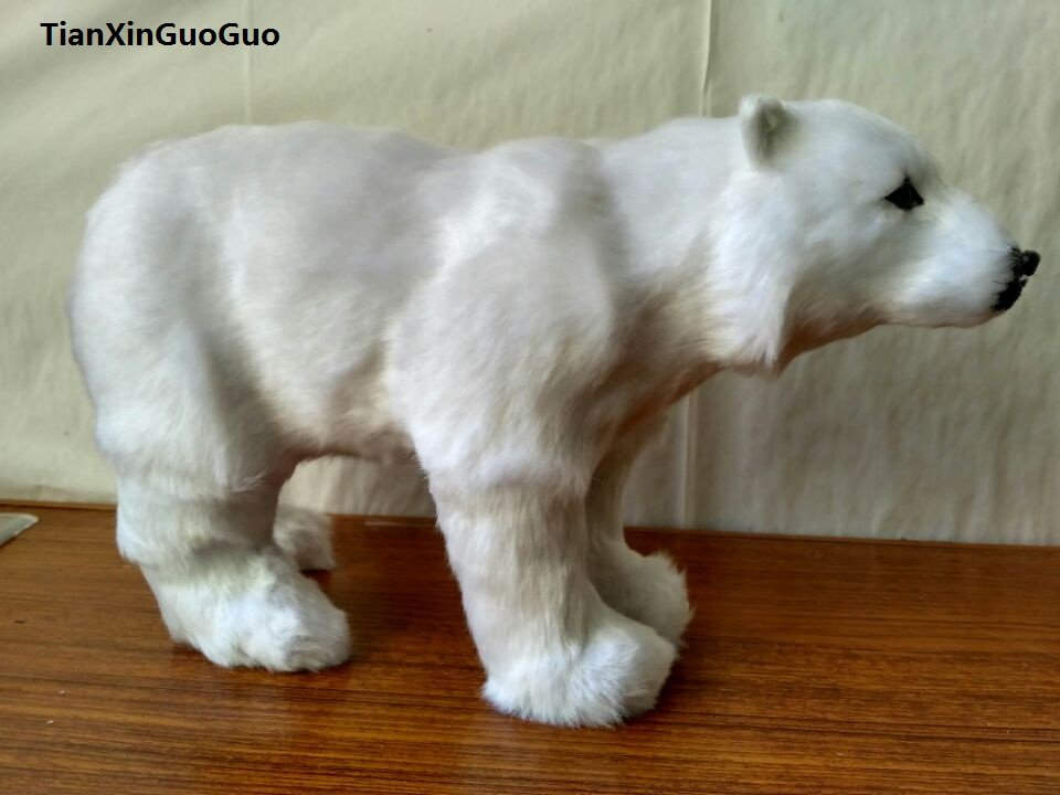 artificial standing polar bear model,polyethylene&amp;fur white polar bear large 30x9x18cm handicraft home decoration gift b2001<br>
