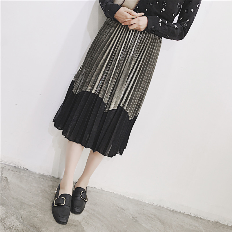 [GUTU] Autumn Summer 2018 Korean New Fashion Patchwork Color Bottoms All-match Elastic Waist Pleated Skirt Loose Women F89201 23