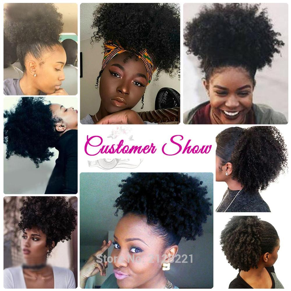 High Puff Afro Curly Ponytail Drawstring Short Afro Kinky Curly Pony Tail Clip in on Synthetic Curly Hair Bun Made of Kanekalon  (8)