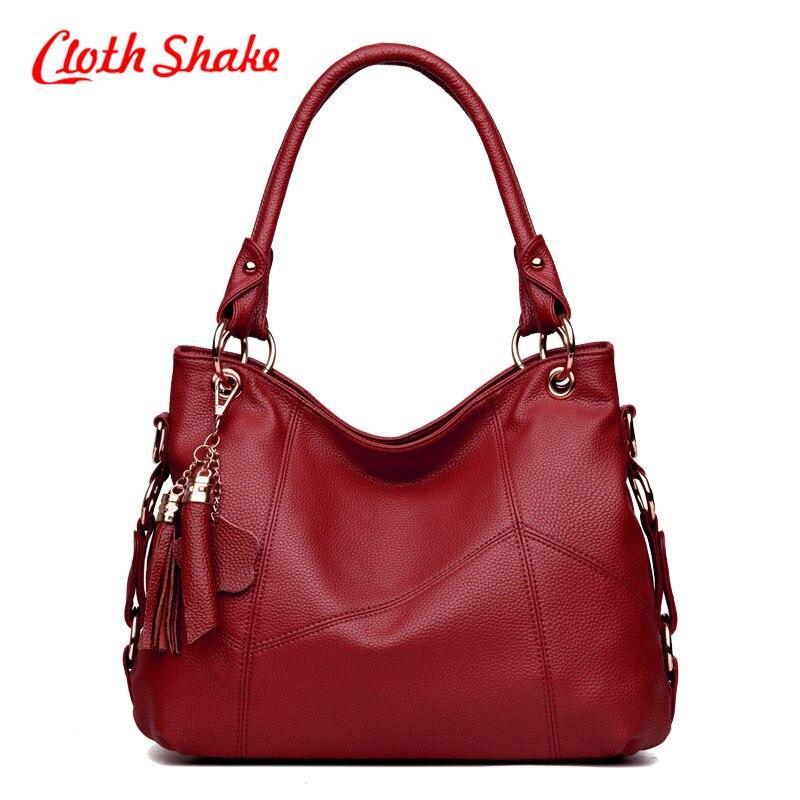 Newest Women Leather Handbags Many Colors Choose Bucket Shoulder Bags Ladies Cross Body Bags Large Capacity Tassel Shopping Bag <br>