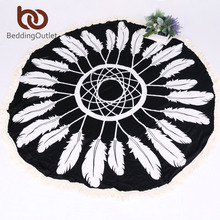 BeddingOutlet Summer Round Beach Towel Bath Towel with Tassel Sunbath Blanket Cover Boho Mandala Tapestry Viscose Easy to Pack