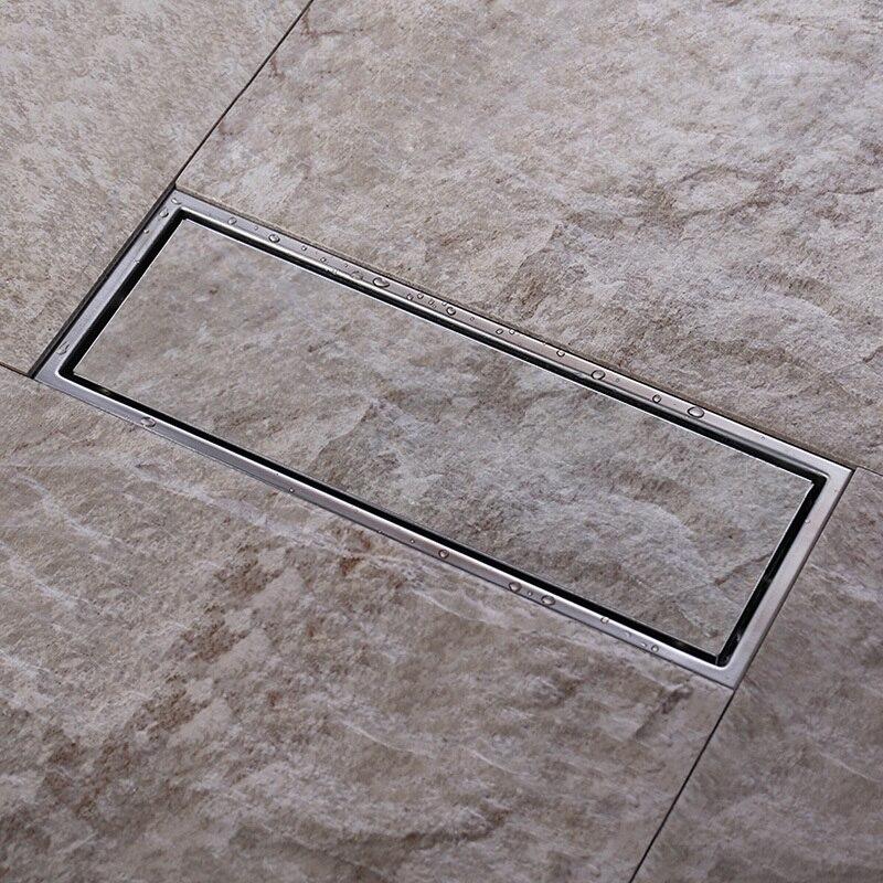 300MM Tile Insert Rectangular Floor Waste Grates Bathroom Shower Drain ,Invisible 304 grade stainless steel  floor drain<br>