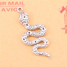 4pcs Tibetan Silver Plated snake cobra Charms Pendants for Necklace Bracelet Jewelry Making DIY Handmade 51*21mm