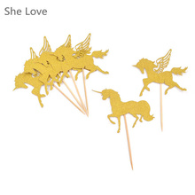 5pcs Unicorn Horse Cupcake Topper Wedding Decoration Baby Shower Birthday Party Supplies