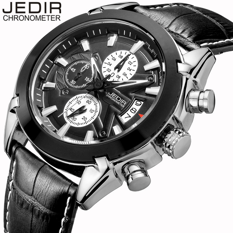 Mens Watches Top Brand Luxury JEDIR Fashion Military Sport Leather Quartz Watch Men Chronograph Wristwatch relogio masculino<br><br>Aliexpress