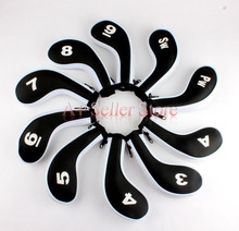 New Black and White 10pcs / Set Neoprene Golf Club Iron cover with Zipper Long Neck headcover(China)