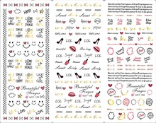 3 Sheets red lips smile face design Nail Art Stickers nail water transfer sticker  Water Nail Sticker decals Hot Sale