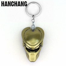 Horror Movie Jewelry Alien Mask Pendant Keychain Ring Accesssories AVP Alien Predator Keyring Key Holder Porte Clef