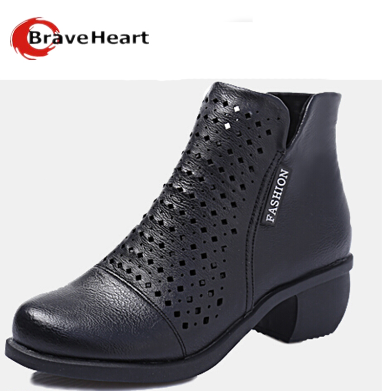 2017 New Spring  Hollow Thick Heeled Boots female Short Single  Boots Female Casual Breathable Cool Boots Ankle Boots<br><br>Aliexpress