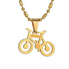 Punk Rock Jewelry 316L Stainless Steel Bicycle Necklaces & Pendants Wholesale Collier Gold Color Bike Necklace For Men/Women(China)
