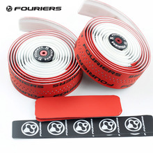 Fouriers Dual Color Bicycle Drop Handlebar Tape Wraps PU Fixed Gear Road Bike Handle Bar Double Shot Tapes Belt Red & white(China)