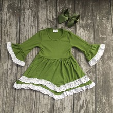 Fall/winter baby gilrs children clothes cotton lace ruffle long sleeve dress Mustard green boutique outfits match clip hairbow(China)