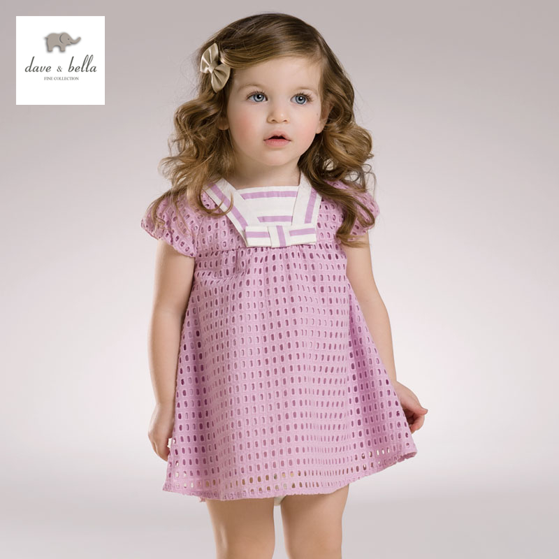 DB3460 dave bella summer baby girl lilac bow dress girls lavender  breathable party dress<br>