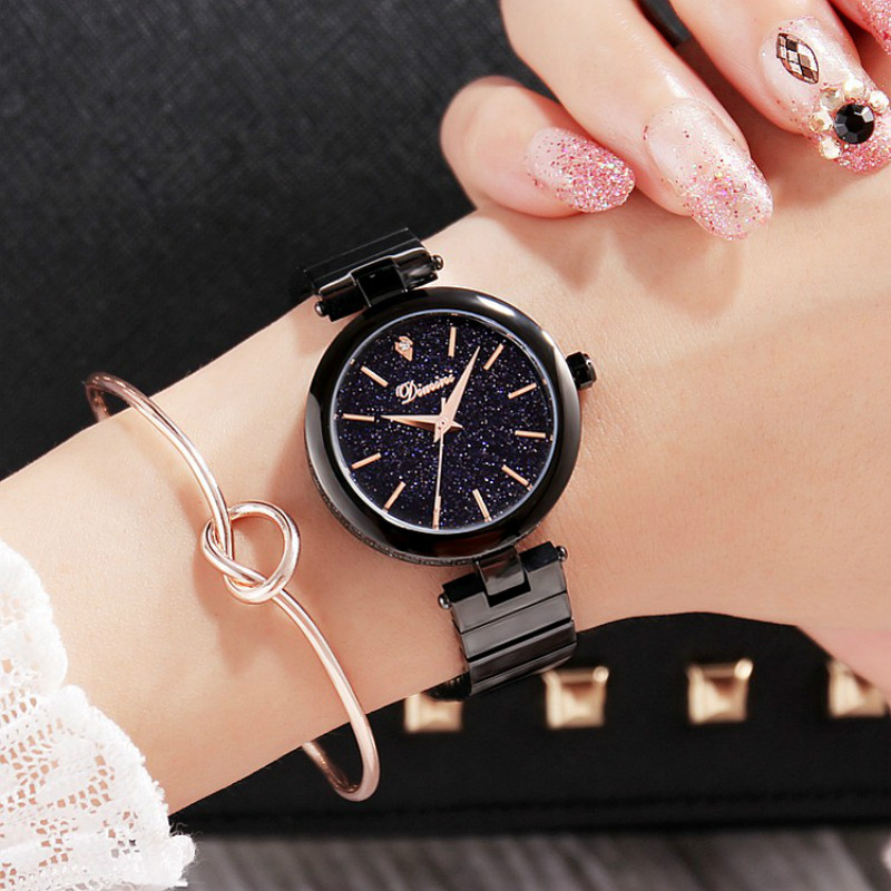 Women Watch Elegant Brand Famous Luxury Black Quartz Watches Ladies Steel Antique Geneva Wristwatches Relogio 2017 Best Gift<br>