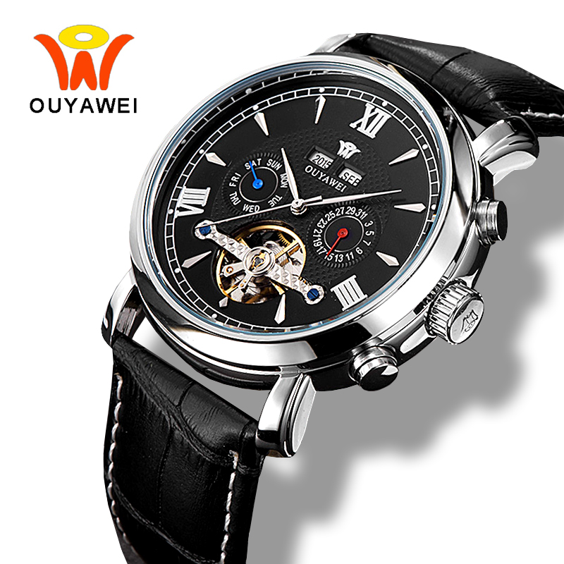 Ouyawei Mens Tourbillon Automatic Complete Calendar Watch 2017 Business Mechanical Self widing Auto Date Black Leather Watches<br>