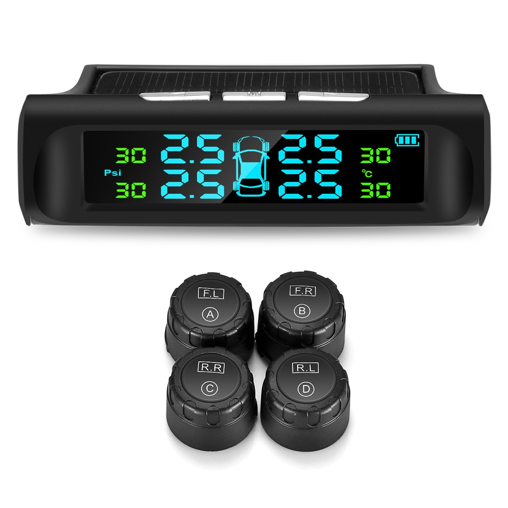 Tire-Pressure-Monitoring-System Alarms External-Sensors Auto TPMS Solar Wireless Digital title=
