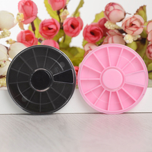 1 Pc Nail Art Empty Wheel Box Black/Pink Plastic Manicure Decoration Rhinestone Container Case