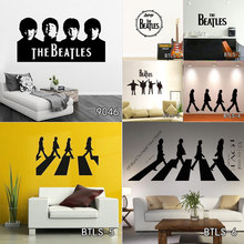 Cheap Vinyl Home Decoration Beatles Wall Sticker Cartoon Removable House Decor British Musician Wall Decal Free Shipping(China)
