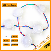 DC12V Waterproof IP68 high power led modules 3 leds built-in LPD6803 IC led pixel module Diameter 45mm 5050 led point light
