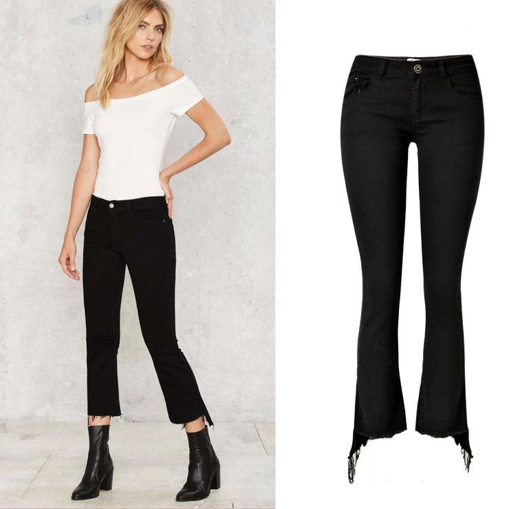 BellFlower Black Women Jeans Pants Mid Waist Slim Jeans Female Nine Length Pencil Jeans Irregular Skinny JeansÎäåæäà è àêñåññóàðû<br><br>