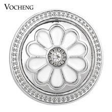 20PCS/Lot Wholesale 18mm Vocheng Snap Charms Painted Design White Flower Button Jewelry Vn-1375*20 Free Shipping