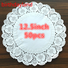 50Pcs 12.5inch diameter 32cm White Round Lace Paper Doilies Craft Doyley Coasters Placemat Wedding Christmas Table Decoration(China)