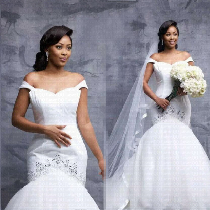 Arabic African Off The Shoulder Mermaid Wedding Dress 2019 Stunning Beads Robe De Marriage Bridal Gowns