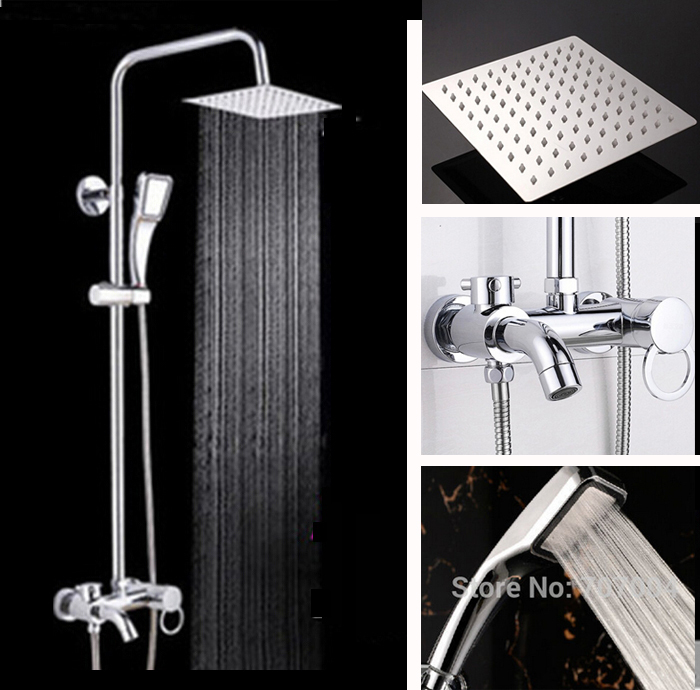 Cheaper Rainfall Bathroom Bath Shower Faucet with Handshower Chrome Brass 8 Ultrathin Showerhead<br><br>Aliexpress