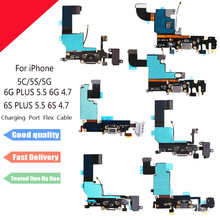 Charger Charging port Dock USB connector Data flex cable For iPhone 5 5S 5C 6 6S Plus 6Plusribbon replacement Parts