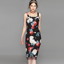 Black Summer Dresses Vintage Fashion Sleeveless 2017 Rose Print Spaghetti Strap Sheath Women Elegant Topshop Classic Dress