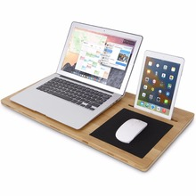 Lifewit Bamboo Lap Desk Board, Multi Tasking Laptop Tablet with Cellphone Stand Holder and Built-in Mouse Pad(China)