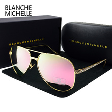 High Quality Pilot Carved Temple Sunglasses Women Mirror Polarized UV400 Sun Glasses Brand Designer Pink Lens With Original Box