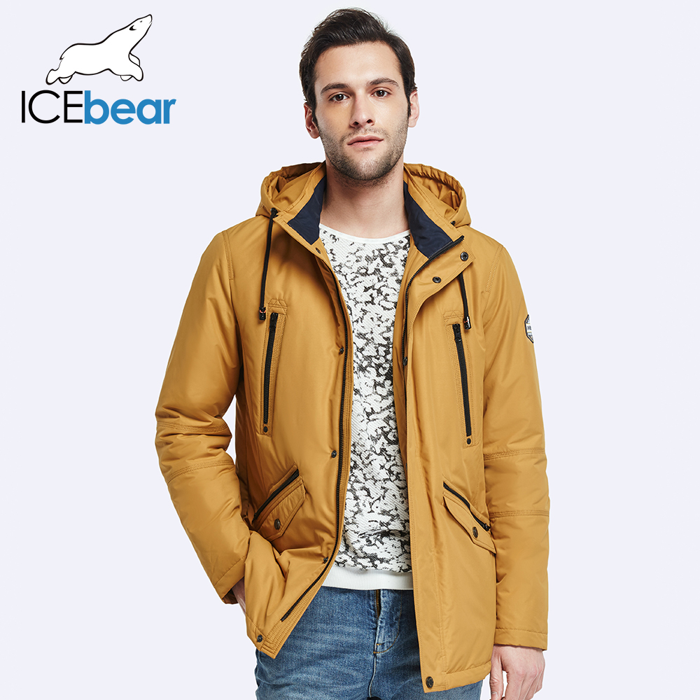 ICEbear 2017 Double Pockets Mens Spring Trench Coat Fashion Men Parka Thin Coat High Quality Men's Slim Jacket 17MC023D(China (Mainland))