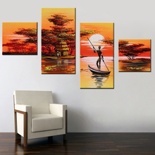 4 Pcs/Set No Framed African Women Painting Hand Painted Abstract African Landscape Painting Set Wall Art Artwork Acrylic Canvas