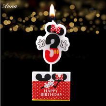 1pc Birthday Candle Mickey Minnie Mouse Candle 3 Anniversary Cake Numbers Age Candle Party Supplies Decoration