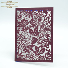 Flowers laser cut indian ideal products wedding invitation cards in pearls