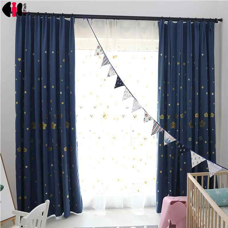 Cute Stars Embroidered Curtain Smiling Face Cartoon  Kids Sons Daughter Princess Nursery Window Treatment Blinds JS08C