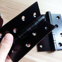 Free Shipping, 4 PCS Black Stainless Steel Hinges for timber door, 4 inches black door hinge, Easy Installation,Low noise Hinges