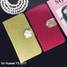 Buy Flip Phone Case Cover Huawei Y3 2017 Original Rhinestone Cases Bling Fundas Diamond Coque Glitter Capa for $3.08 in AliExpress store