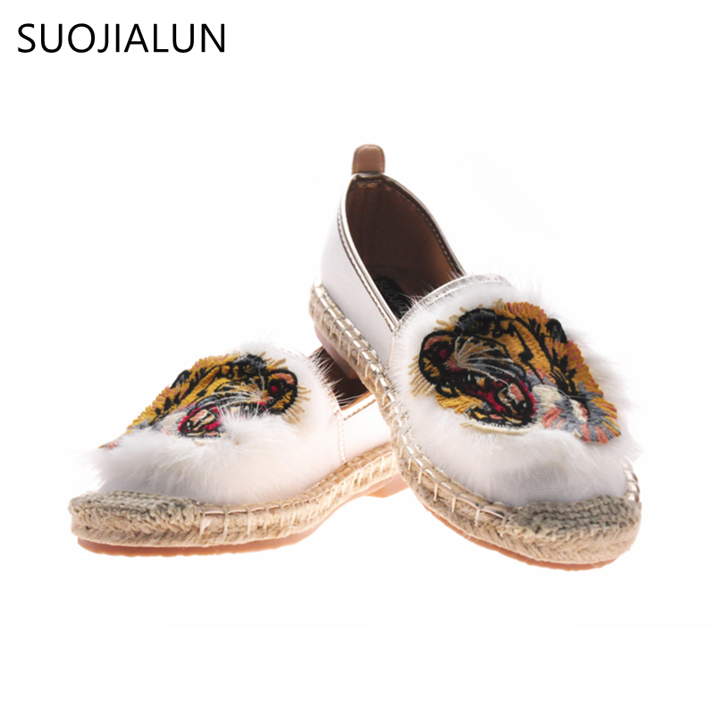 SUOJIALUN 2018 Spring Women Sneakers Espadrilles Slip Shoes Casual Flat Shoe Women Embroider Round Toe loafers Fisherman Slip On<br>