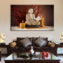 1 Pcs Modern Buddha Painting Large Size Holy Still Life Buddha with Candles light up Wall Art Home Decor Painting(China)