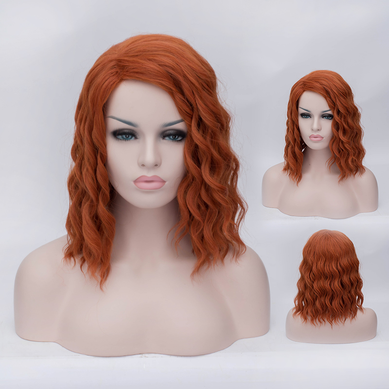 Short orange curly anime cosplay hair wig,Black Widow of The Avengers style hair wig,cheap quality synthetic wig hair peruca<br><br>Aliexpress