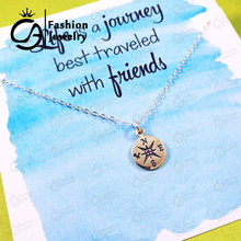 Trend Compass Charm Necklace Friendship Best Friend Graduation Gift for Grads Hand Stamped  Gift for Her 20Pcs/lot #LN1071